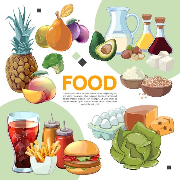 Kleurrijke cartoon voedselsamenstelling Gratis Vector