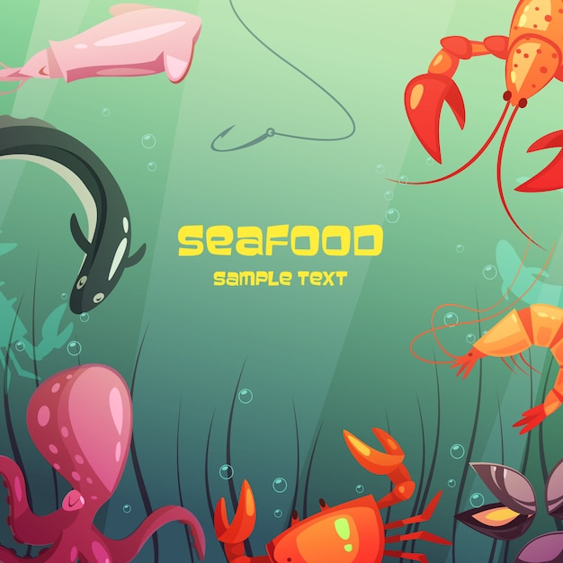 Kleurrijke cartoon zeevruchten illustratie Gratis Vector