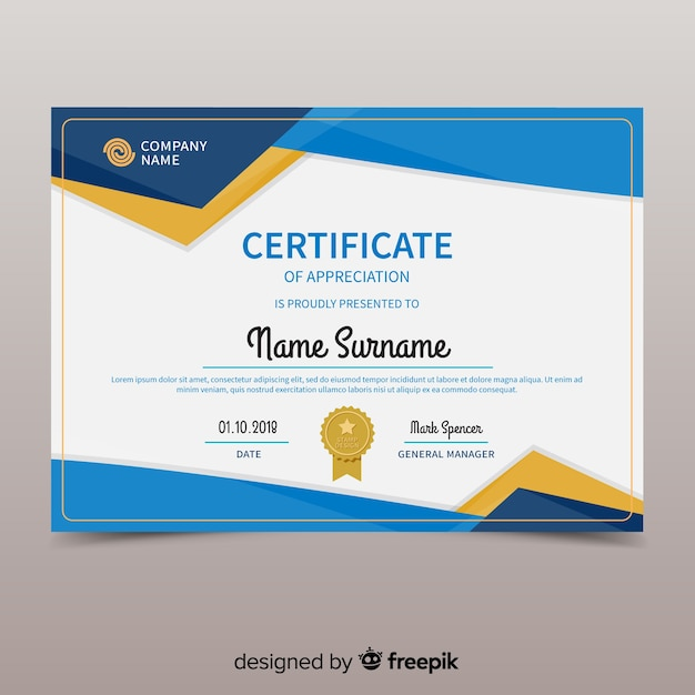 Kleurrijke certificaatsjabloon met platte ontwerp Gratis Vector