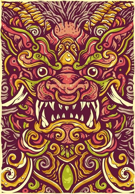 Kleurrijke chinese lion mandala-illustratie Premium Vector