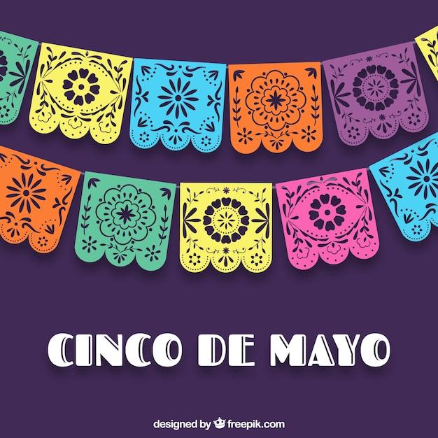 Kleurrijke cinco de mayo achtergrond Gratis Vector
