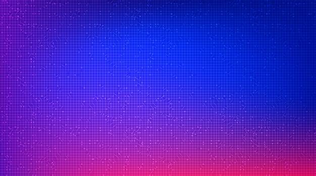Kleurrijke circuit microchip-technologie op toekomstige achtergrond, hi-tech digitaal en communicatieconceptontwerp Premium Vector