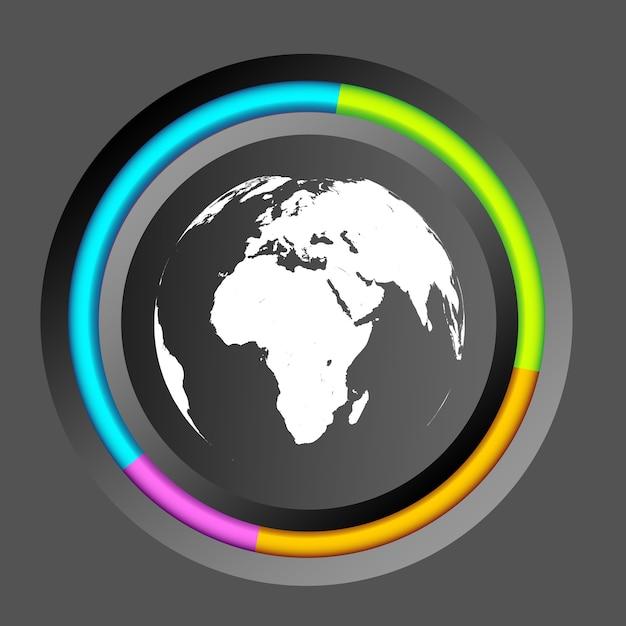 Kleurrijke cirkel en globale kaart Gratis Vector