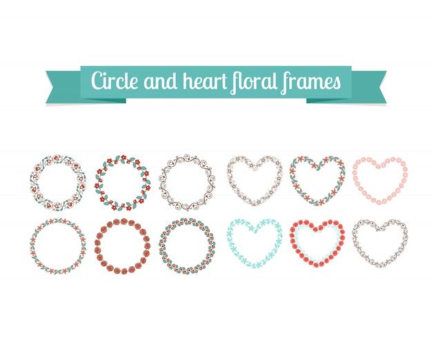 Kleurrijke cirkel en hart bloemenkaders Premium Vector