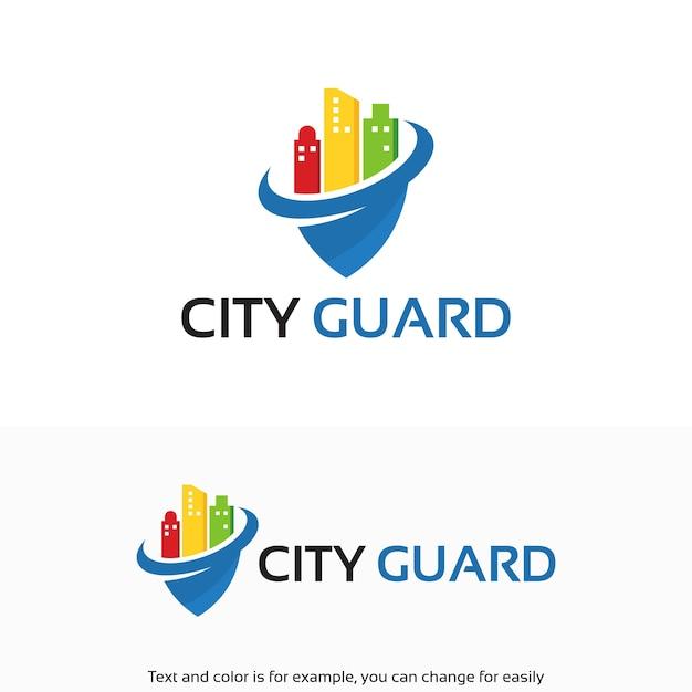 Kleurrijke city security, city guard-symbool voor logo-ontwerpen Premium Vector