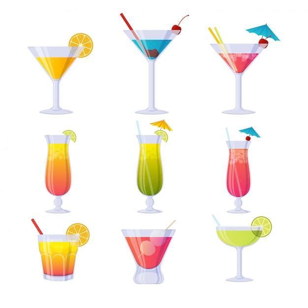 Kleurrijke cocktailcollectie Premium Vector