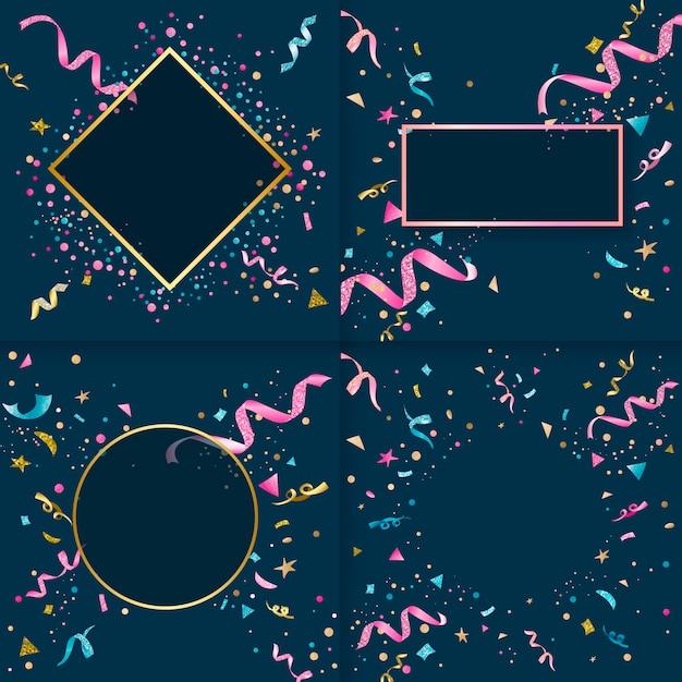 Kleurrijke confetti ontwerpcollectie Gratis Vector