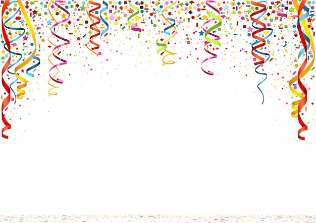 Kleurrijke confetti op witte achtergrond Premium Vector