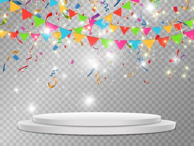 Kleurrijke confetti vallen op het podium. realistisch wit podium met schijnwerpers. Premium Vector