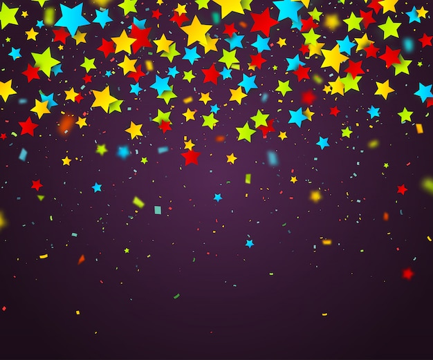 Kleurrijke confetti van sterren. vakantie achtergrond Premium Vector