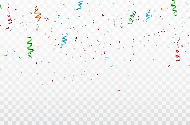 Kleurrijke confetti viering carnaval linten. Premium Vector