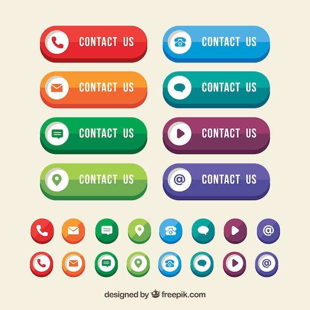 Kleurrijke contact knoppen met pictogrammen in plat ontwerp Gratis Vector