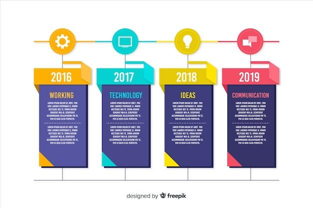 Kleurrijke creatieve tijdlijn infographic sjabloon Gratis Vector