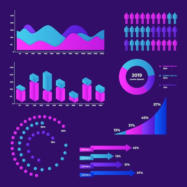 Kleurrijke dashboard element collectie Gratis Vector