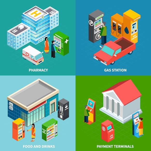 Kleurrijke de bouw isometrische reeks met betalingsterminals en automaten die voedseldranken en geneesmiddelen verkopen 3d isometrische vectorillustratie Gratis Vector