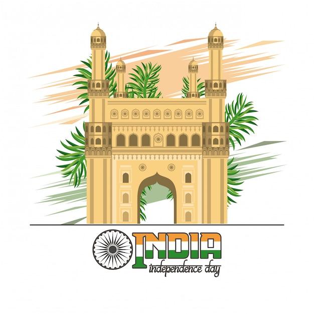 Kleurrijke de onafhankelijkheidskaart van india Gratis Vector