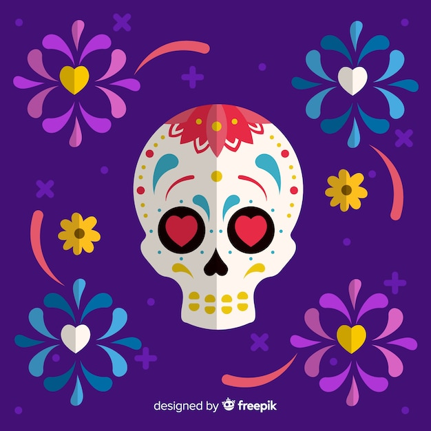 Kleurrijke día de muertos met mexicaanse schedelachtergrond in vlak ontwerp Gratis Vector