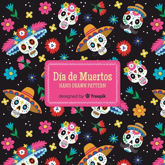 Kleurrijke día de muertos patrooncollectie met plat ontwerp Gratis Vector