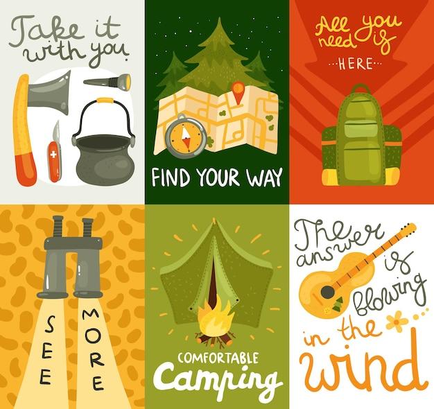Kleurrijke die kaarten met materiaal voor comfortabel kamperen op kleurrijke vlakke geïsoleerde vectorillustratie worden geplaatst als achtergrond Gratis Vector