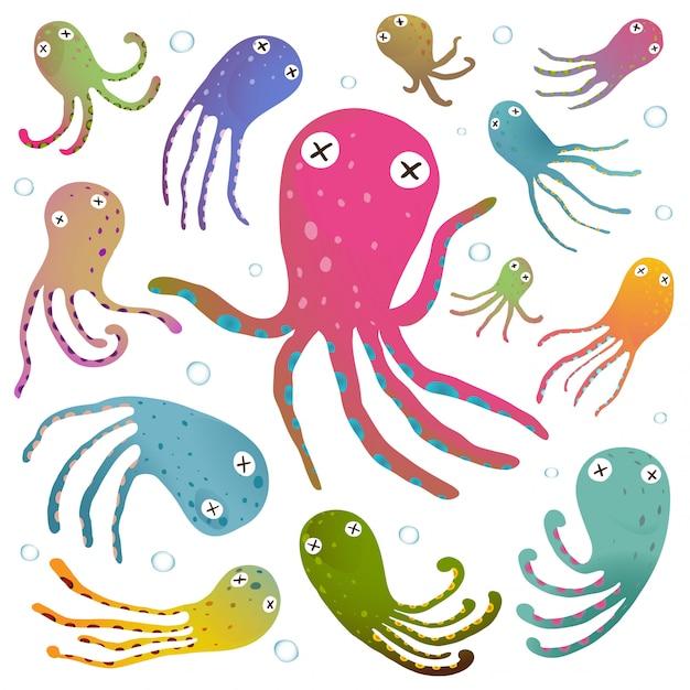 Kleurrijke die octopus op witte beeldverhaalillustratie wordt geïsoleerd Premium Vector