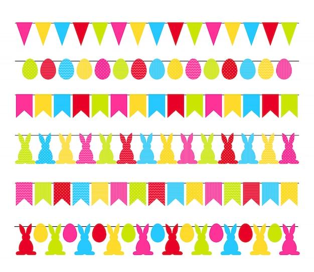 Kleurrijke die pasen-slingervlaggen op wit worden geïsoleerd Premium Vector