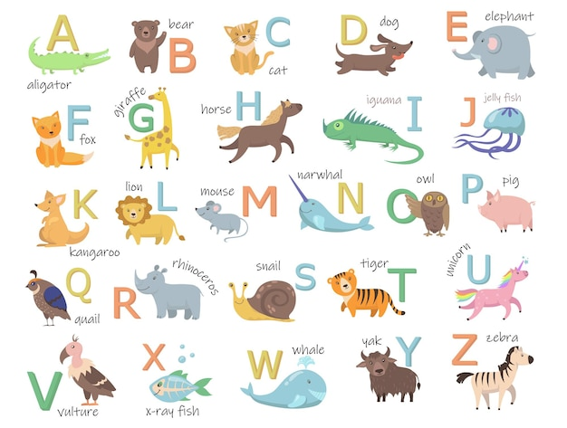 Kleurrijke dierentuin alfabet met schattige dieren vlakke afbeelding set. Gratis Vector
