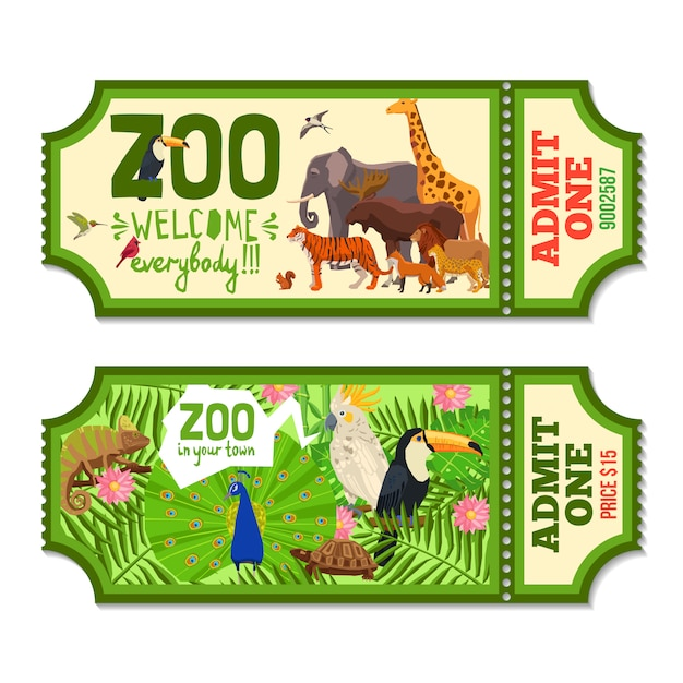 Kleurrijke dierentuinkaartjes met tropische achtergrond Gratis Vector