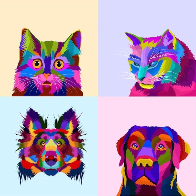 Kleurrijke dierlijke set hond en kat pop-art stijl Premium Vector