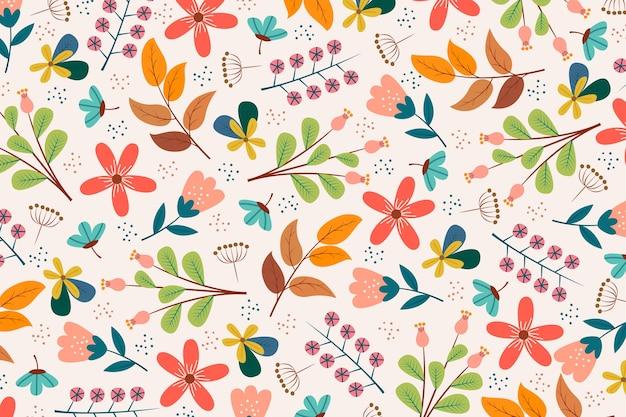 Kleurrijke ditsy bloemenprintachtergrond Premium Vector
