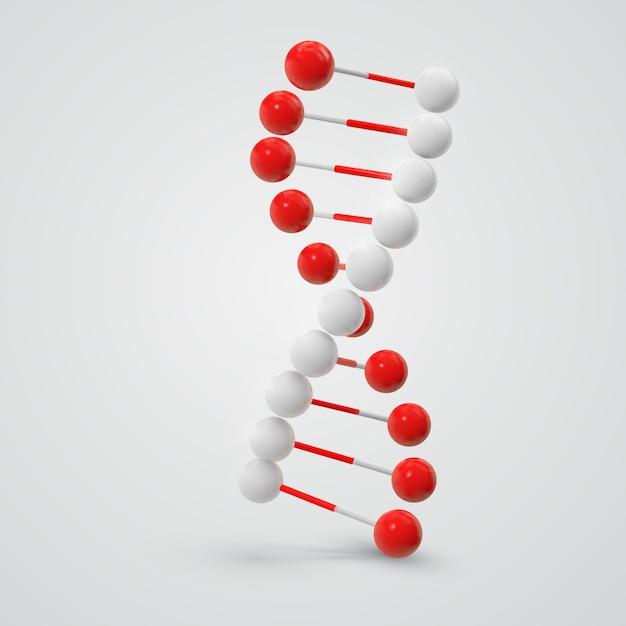 Kleurrijke dna-molecule die op wit wordt geïsoleerd Premium Vector