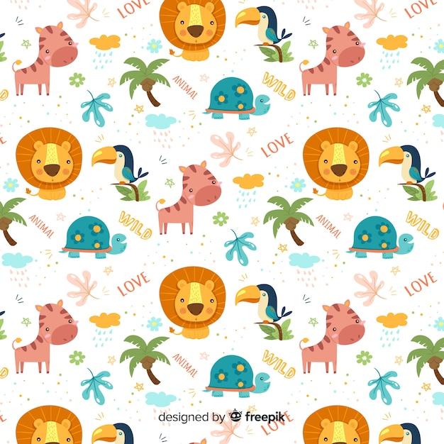 Kleurrijke doodle jungle dieren en woorden patroon Gratis Vector