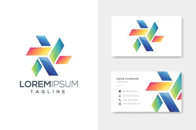 Kleurrijke doos origami logo met visitekaartje ontwerp Premium Vector