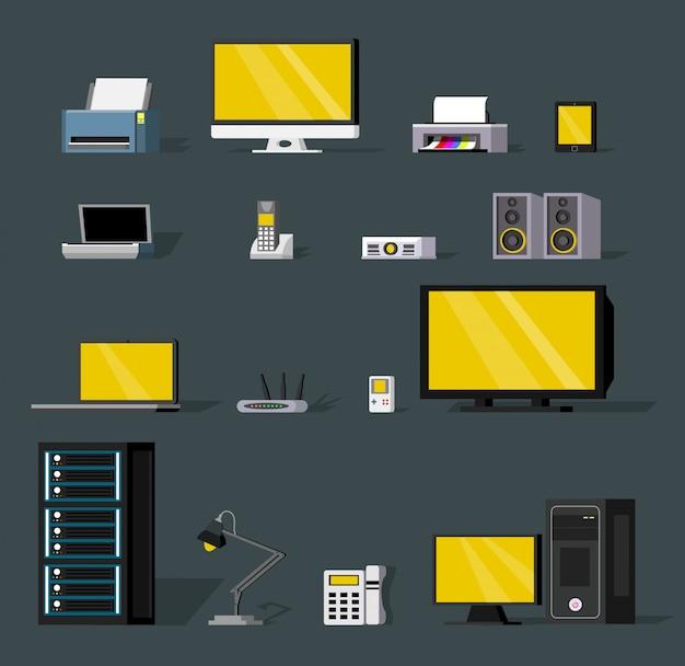 Kleurrijke draadloze technologie-objecten instellen Gratis Vector