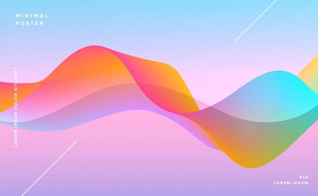 Kleurrijke dynamische levendige golf achtergrond Gratis Vector