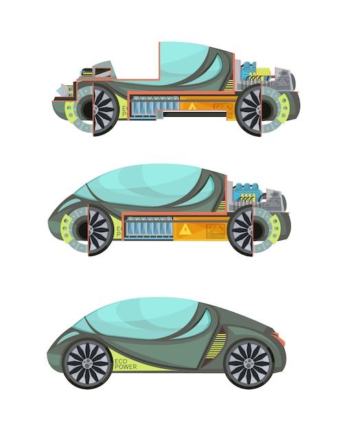 Kleurrijke eco-vriendelijke elektrische auto's instellen geïsoleerd op witte achtergrond Gratis Vector