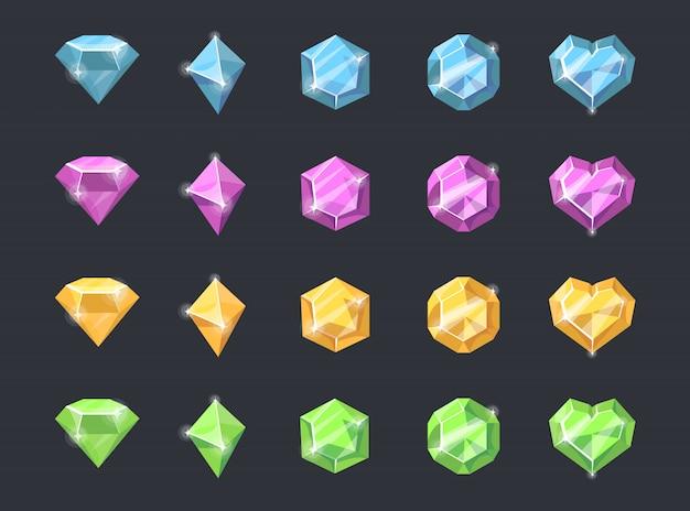 Kleurrijke edelstenen set Gratis Vector