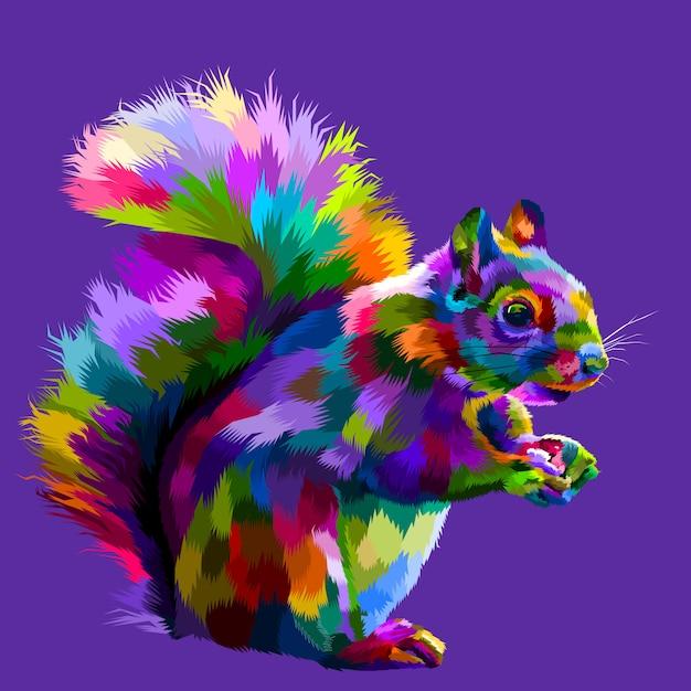 Kleurrijke eekhoorn op pop-art vectorillustratie Premium Vector