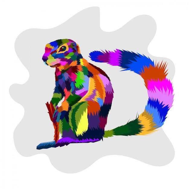 Kleurrijke eekhoorn popart vector Premium Vector