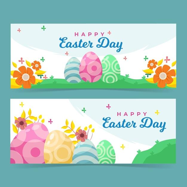 Kleurrijke eieren in de bannermalplaatje van daglicht gelukkig pasen Gratis Vector