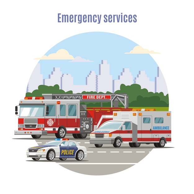 Kleurrijke emergency city transport concept Gratis Vector