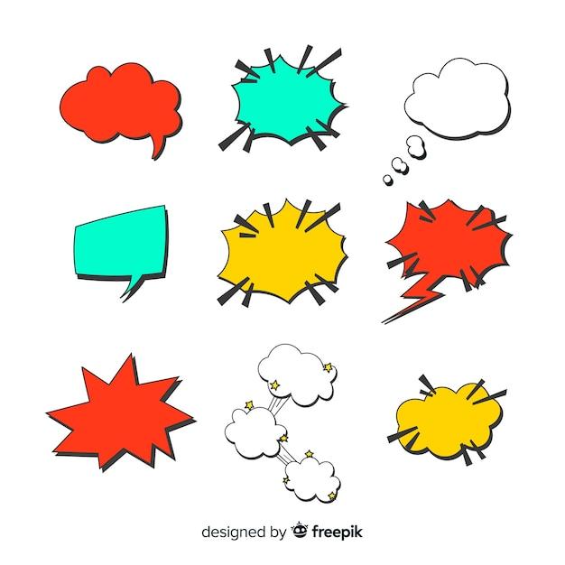 Kleurrijke en uniek gevormde komische tekstballonnen Gratis Vector