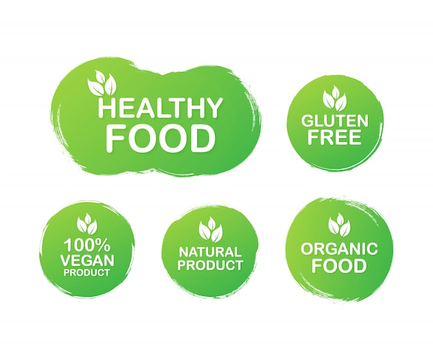 Kleurrijke etiketten instellen voor voedsel, voeding. collectie iconen. gezond eten, glutenvrij, 100 veganistisch eten, natuurlijk product, biologisch voedsel. . Premium Vector