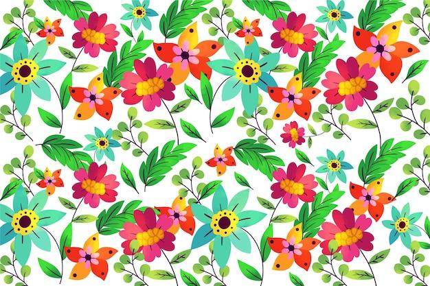 Kleurrijke exotische bloemenachtergrond in rood en groen Gratis Vector