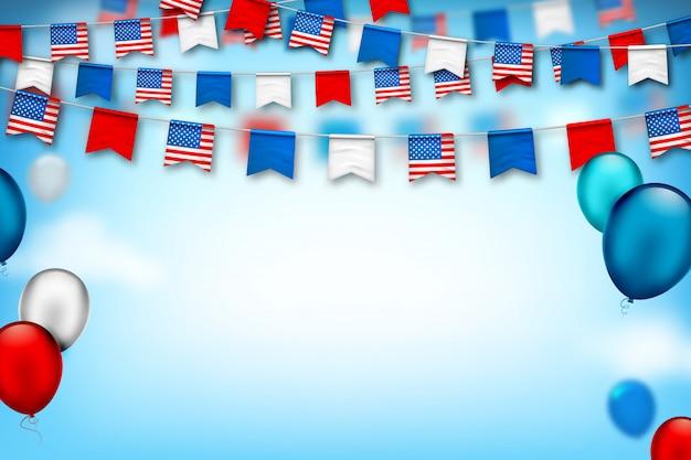 Kleurrijke feestelijke slingers van vlaggen van de vs en luchtballonnen. amerikaanse onafhankelijkheid en patriotdag Premium Vector