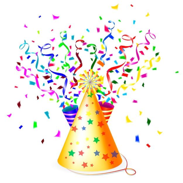 Kleurrijke feestillustratie met een conische gouden feestmuts, slingers of linten en zwevende papieren confetti Premium Vector