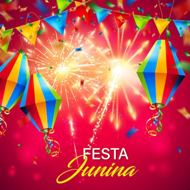 Kleurrijke festa junina achtergrond met vuurwerk Premium Vector