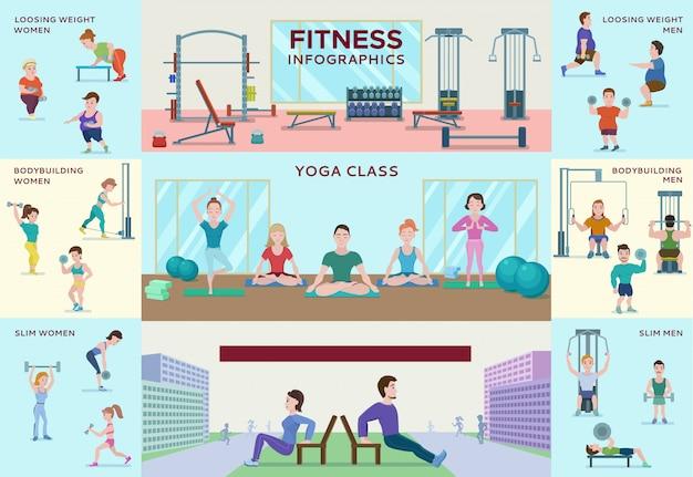 Kleurrijke fitness infographic horizontale banners Gratis Vector