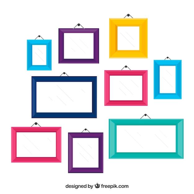 Kleurrijke Fotolijst Collage Met Platte Ontwerp