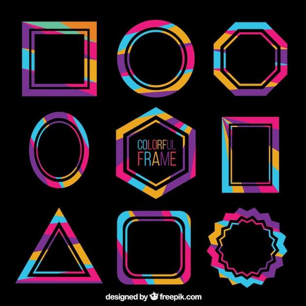 Kleurrijke frames-collectie Gratis Vector