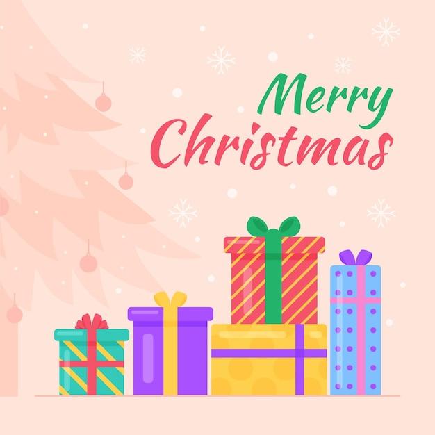 Kleurrijke geïllustreerde kerstmisgiften Gratis Vector